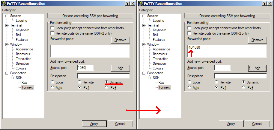 PuTTY SSH Tunnels Config Dynamic