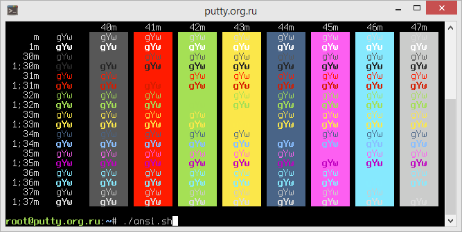 Hurtado PuTTY Color Scheme