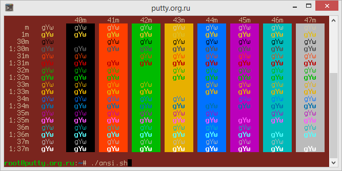 Red Sands PuTTY Color Scheme