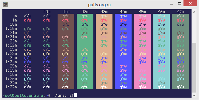 Vaughn PuTTY Color Scheme